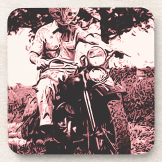 Motorcycle cat drink coasters