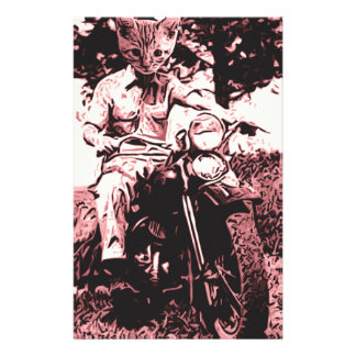 Motorcycle cat personalised stationery