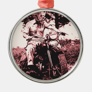Motorcycle cat Silver-Colored round decoration