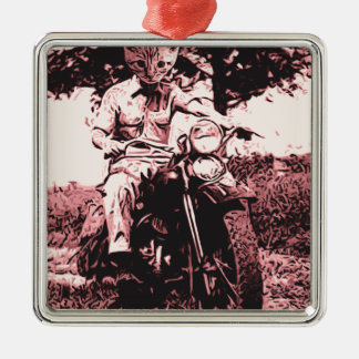Motorcycle cat Silver-Colored square decoration