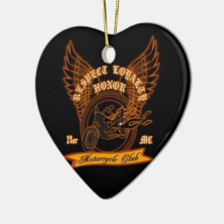 Motorcycle Club Badge Ceramic Heart Decoration