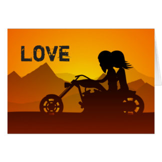Motorcycle Couple LOVE Mountains Valentine's Day Card