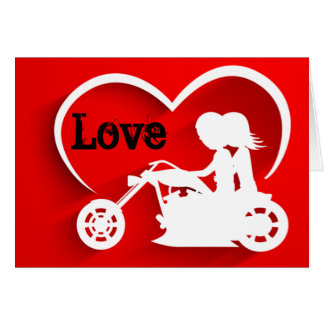 Motorcycle Couple LOVE Valentine's Day Note Card