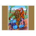 Motorcycle Couple Postcard