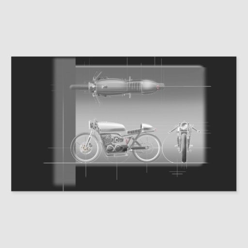 MOTORCYCLE DESIGN ART RECTANGLE STICKERS
