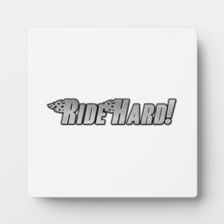 Motorcycle Flames - Ride Hard Photo Plaque