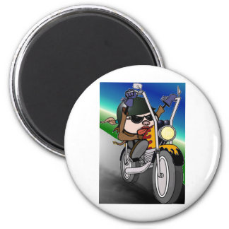 Motorcycle Lady 6 Cm Round Magnet