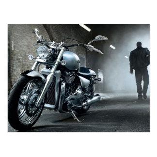 Motorcycle Man Walking Away From His Bike Postcard