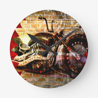 Motorcycle Mania Round Clock