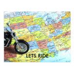 Motorcycle on Map of USA, LETS RIDE Post Card