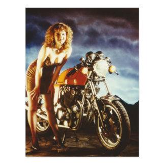 Motorcycle Pin Up Girl Postcard