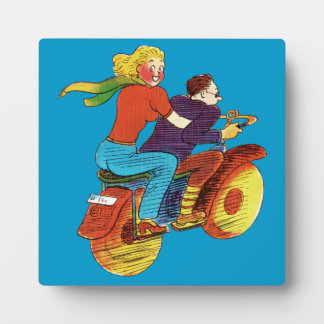 Motorcycle Pin-Up Photo Plaque