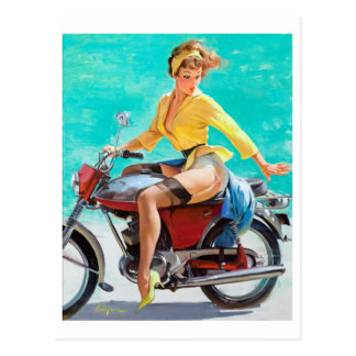 Motorcycle Pin Up Postcards