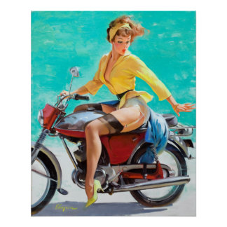 Motorcycle Pin Up Poster