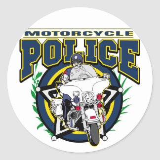 Motorcycle Police Classic Round Sticker
