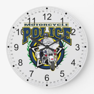 Motorcycle Police Large Clock