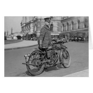 Motorcycle Police Officer, 1922 Greeting Card