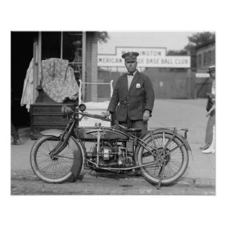 Motorcycle Police Officer, 1922. Vintage Photo Poster