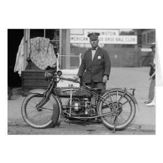 Motorcycle Police Officer, 1924 Greeting Card