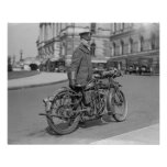 Motorcycle Police Officer, 1924. Vintage Photo Poster