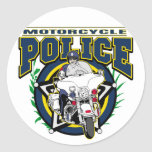 Motorcycle Police Round Stickers