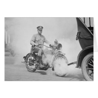 Motorcycle Policeman on Duty, 1923 Greeting Card