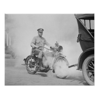 Motorcycle Policeman on Duty, 1923. Vintage Photo Poster