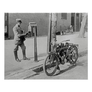 Motorcycle Postman, 1909. Vintage Photo Poster