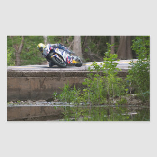Motorcycle Racer on Old Creek Bridge Stickers
