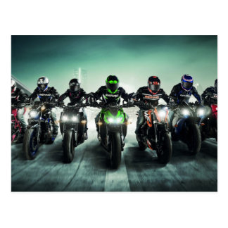 Motorcycle Racers in Formation Postcard