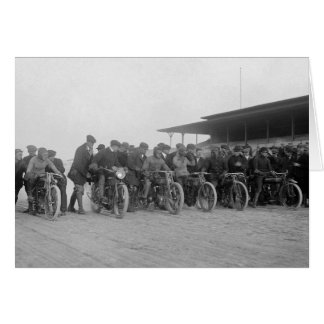 Motorcycle Races, 1915 Greeting Card