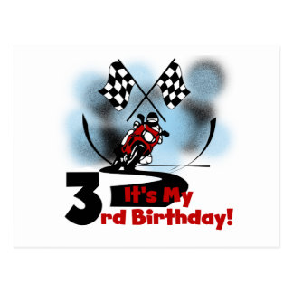 Motorcycle Racing 3rd Birthday Tshirts Postcard