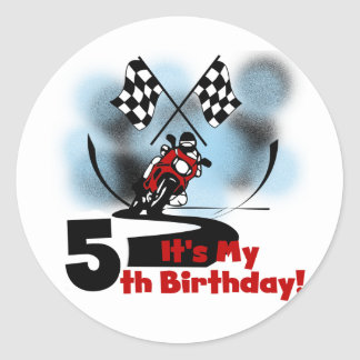 Motorcycle Racing 5th Birthday Round Sticker