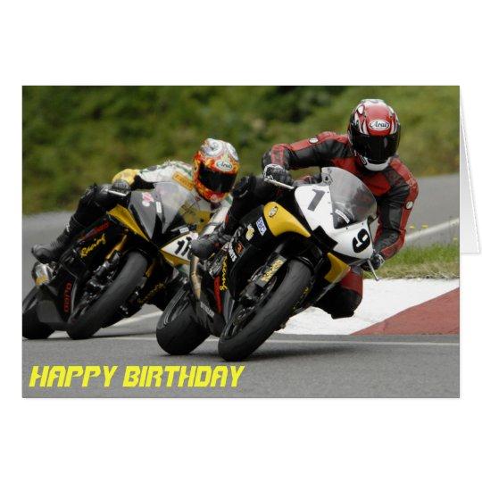 Motorcycle racing birthday card