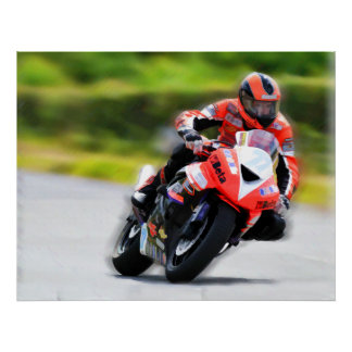 Motorcycle Red Racer Poster