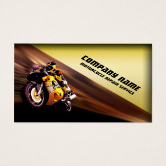 Motorcycle Repair Service Yellow Business Card