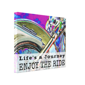 Motorcycle Ride Modern Art Neon | Biker Quote Canvas Print
