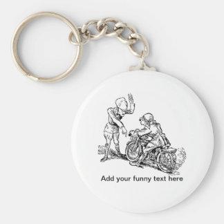Motorcycle Rider & Policeman Humor Basic Round Button Key Ring