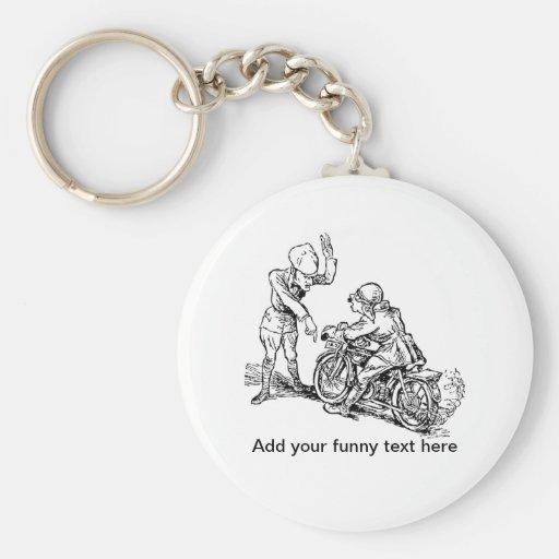 Motorcycle Rider & Policeman Humor Keychain