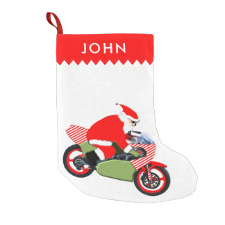 motorcycle riding Santa Small Christmas Stocking