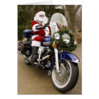 Motorcycle Santa Greeting Card