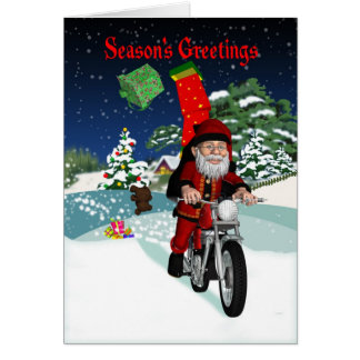 Motorcycle Santa With Flying Gifts & Winter Scene Greeting Card