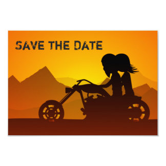"""Motorcycle Save the Date Wedding Announcement 3.5"""" X 5"""" Invitation Card"""