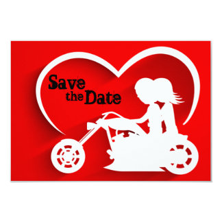 Motorcycle Save the Date Wedding Announcemet 9 Cm X 13 Cm Invitation Card