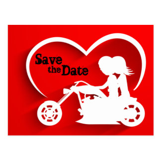 Motorcycle Save the Date Wedding Announcemet Postcard