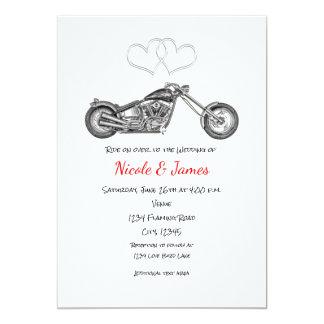 Motorcycle & Silver Hearts Biker Wedding Card