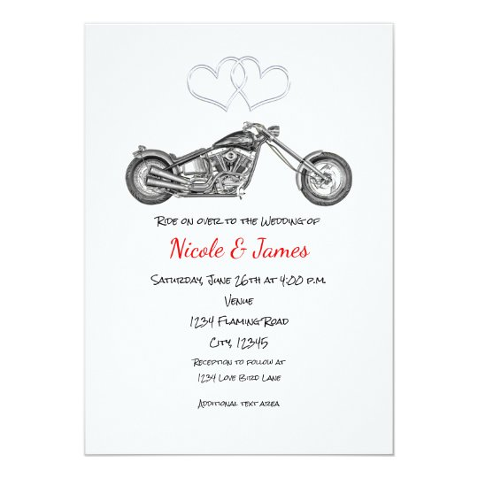 Motorcycle & Silver Hearts Biker Wedding Card