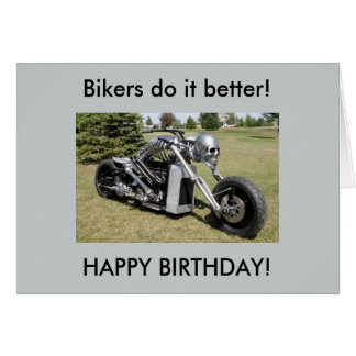 Motorcycle skeleton birthday card