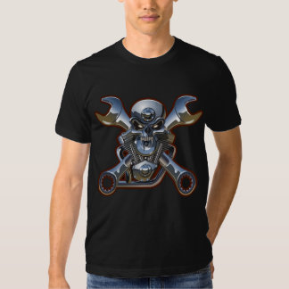 motorcycle skull with crossed wrenches tshirt