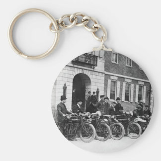Motorcycle Squad, early 1900s Basic Round Button Key Ring
